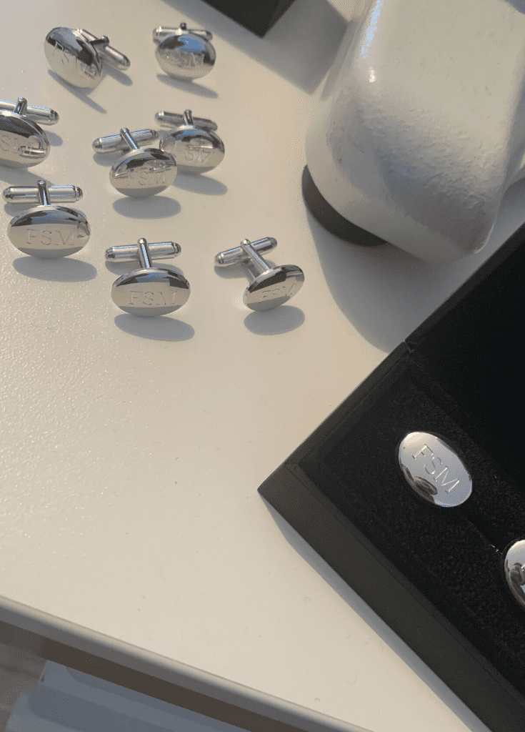 Gift for business silver cufflink
